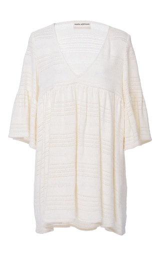 Medium mara hoffman neutral organic cotton crochet mini dress