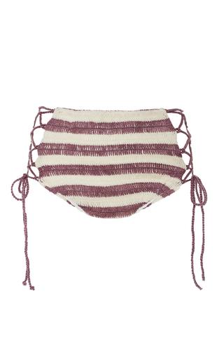 Medium mara hoffman stripe organic lace up crochet bikini bottom