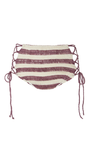 Medium mara hoffman stripe organic lace up crochet bikini bottom