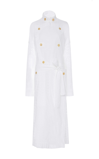 Medium loewe white broderie anglais cotton coat
