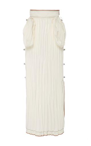 Medium loewe white crinkled satin midi skirt