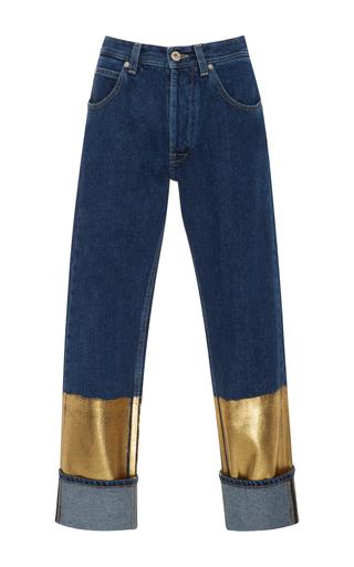 Medium loewe dark wash gold dipped mid rise jeans