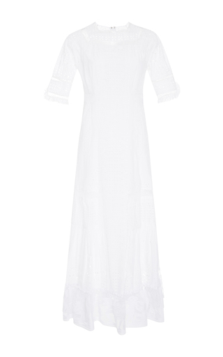 Medium loewe white cotton broderie anglaise dress