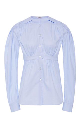 Medium loewe light blue smocked cotton poplin shirt