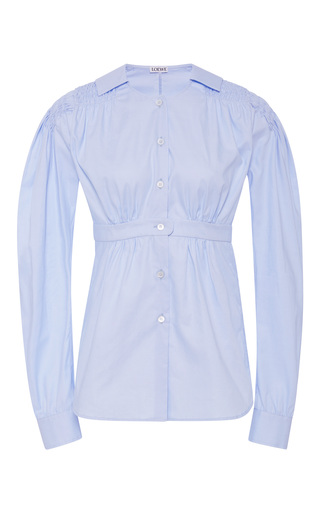 Medium loewe light blue smocked cotton poplin shirt
