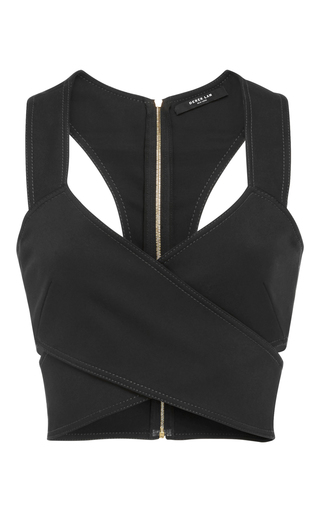 Medium derek lam black crossover crop top
