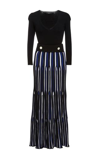 Medium derek lam black belted long sleeve dress