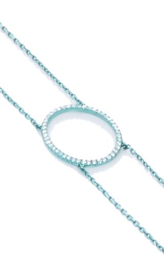 La Collection Oval Diamond Aqua Double Chain Choker by AS29 for Preorder on Moda Operandi