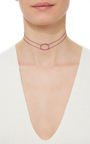 La Collection Pink Oval Double Chain Choker by AS29 for Preorder on Moda Operandi
