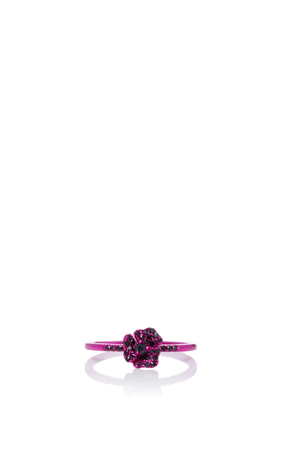Pave Pink Flower Ring by AS29 for Preorder on Moda Operandi