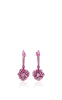 Pave Sharp Pink Flower Hanging Earrings by AS29 for Preorder on Moda Operandi