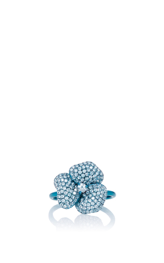 Pave Blue Flower Ring by AS29 for Preorder on Moda Operandi