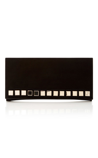 Medium tomasini black hutton embellished suede clutch