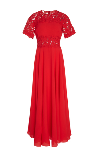 Medium giambattista valli red lace paneled crepe maxi dress