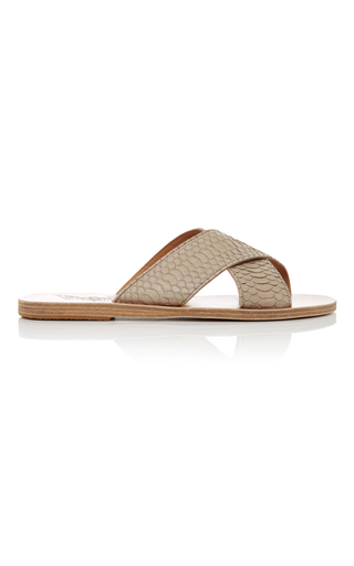 Medium ancient greek sandals light grey snake thais sandals