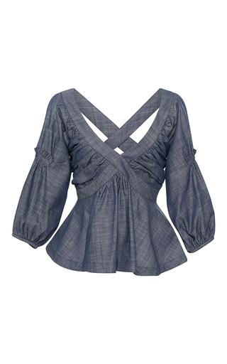 Medium piamita blue rachel cross back peplum blouse