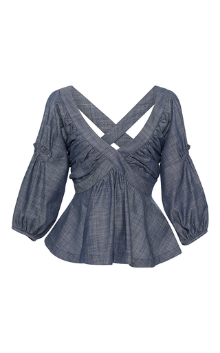 Medium piamita blue rachel cross back peplum blouse