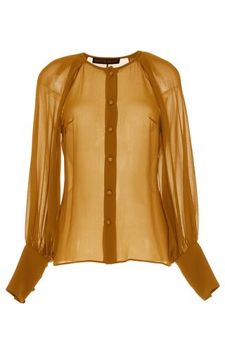 Medium martin grant tan silk button up blouse