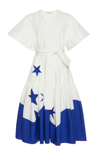 Medium delpozo white short sleeve star printed dress