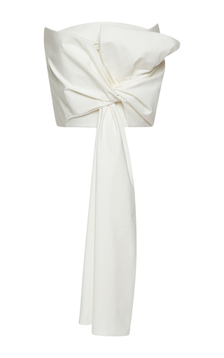 Medium delpozo white strapless draped bow top
