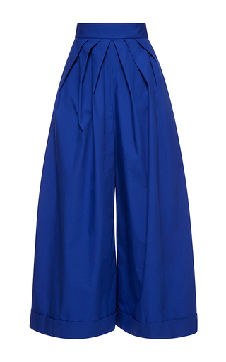 Medium delpozo blue wide legged pleated trousers