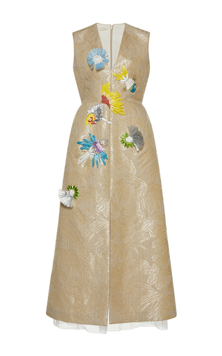Medium delpozo neutral sleeveless v neck raffia embroidered dress