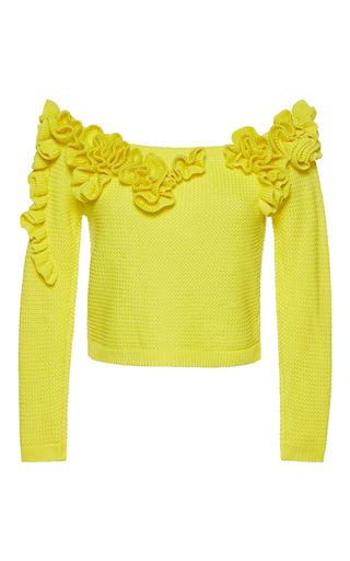 Medium delpozo yellow off the shoulder frilled jumper