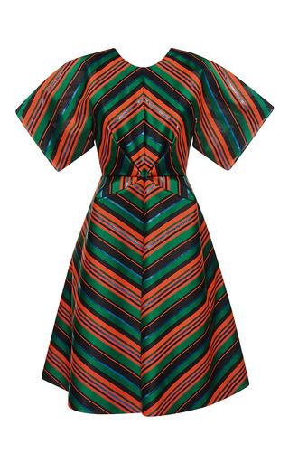 Medium delpozo multi gathered waist striped dress