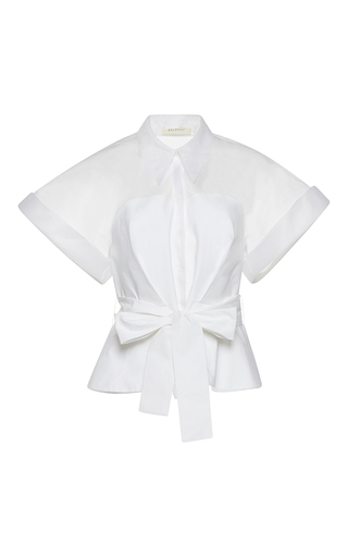 Medium delpozo white short sleeve belted japanese shirt
