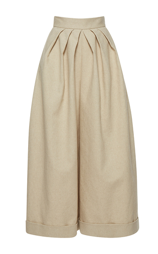 Medium delpozo tan wide legged trousers 3