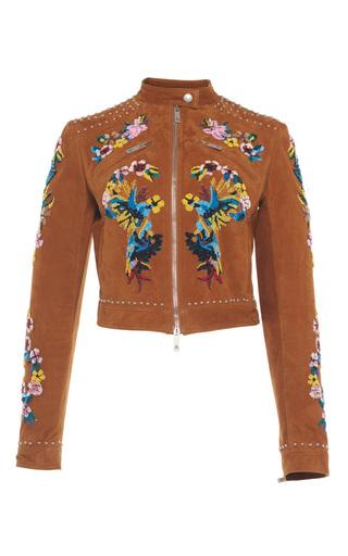 Medium zuhair murad brown embroidered suede biker jacket