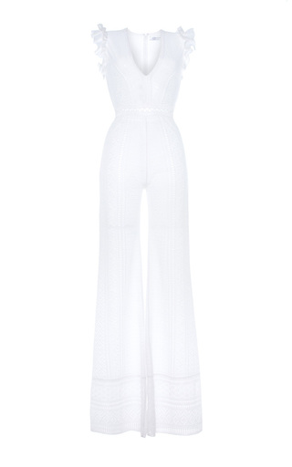 Medium zuhair murad white pallazo knit jumpsuit with ruffle details