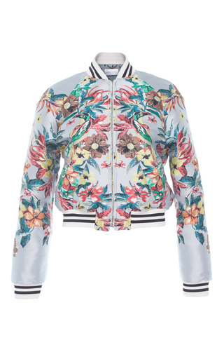 Medium zuhair murad print jacquard bomber jacket with striped elastic band