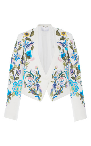 Medium zuhair murad white embroidered boxy jacket with stud details