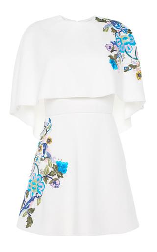 Medium zuhair murad white short embroidered dress with cape detail