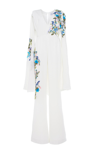 Medium zuhair murad white embroidered jumpsuit with cape sleeves