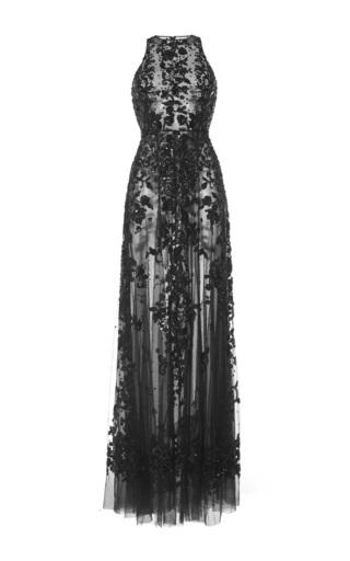 Medium zuhair murad black flared beaded tulle maxi dress