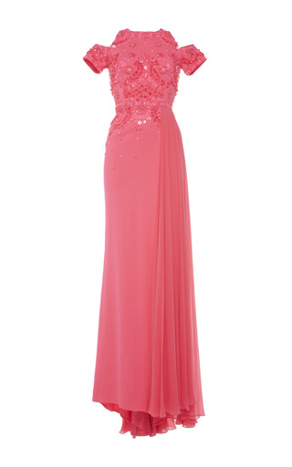 Medium zuhair murad pink long fitted dress with embroidered bodice