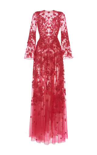 Medium zuhair murad pink long embroidered tulle dress with flared sleeves