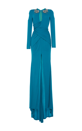 Medium zuhair murad blue long jersey draped dress