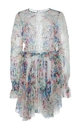 Medium zuhair murad white tropical print dress with macrame embroidery cutwork