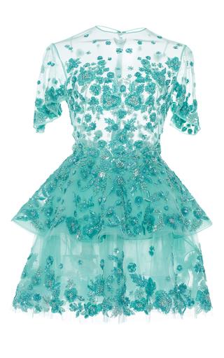 Medium zuhair murad blue beaded tulle dress with flared short sleeves