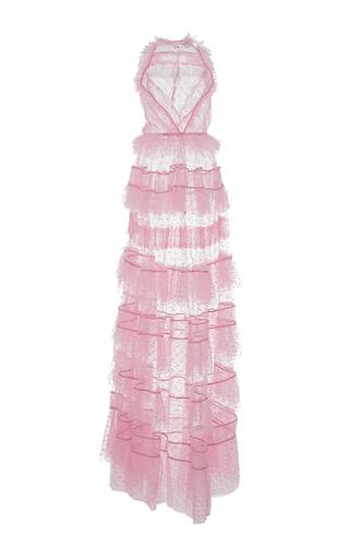 Medium zuhair murad pink long flared lace and plumeti ruffle dress