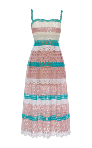 Medium zuhair murad stripe multicolored macrame dress with embroidered bodice