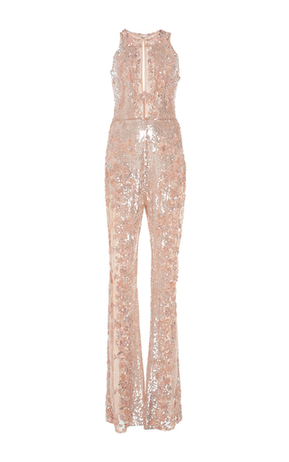 Medium zuhair murad pink beaded tulle jumpsuit