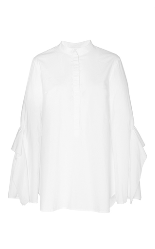 Medium acler white sloan button up ruffled shirt