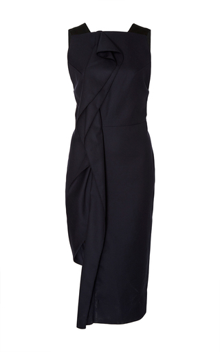 Medium acler navy waverly ruffled asymmetric dress