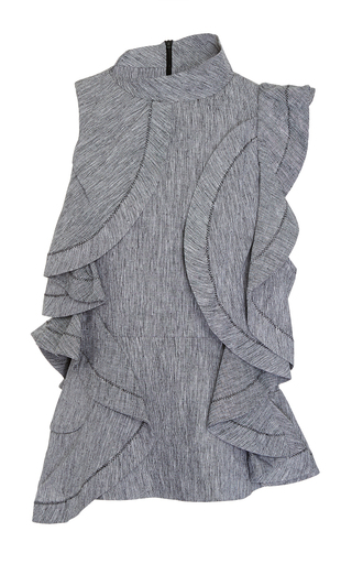 Medium acler dark grey granite pelham cascading ruffle top