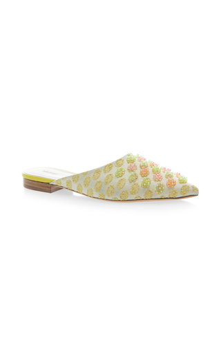 Medium delpozo yellow embellished flat mule