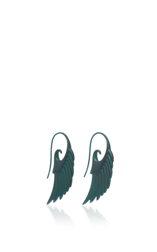 Medium noor fares green fly me to the moon wing earrings